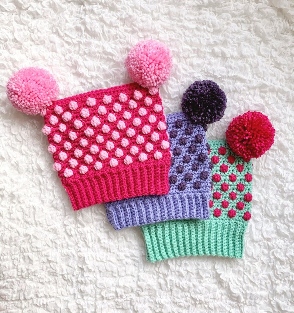 Crochet a Cute Bitsy Bobbled Toboggan Hat ... It's Got TWO Pom-Poms!