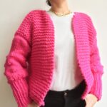 Knit a Fun Chunky Knit Cardigan With Bobble Sleeves … Yes, Please!