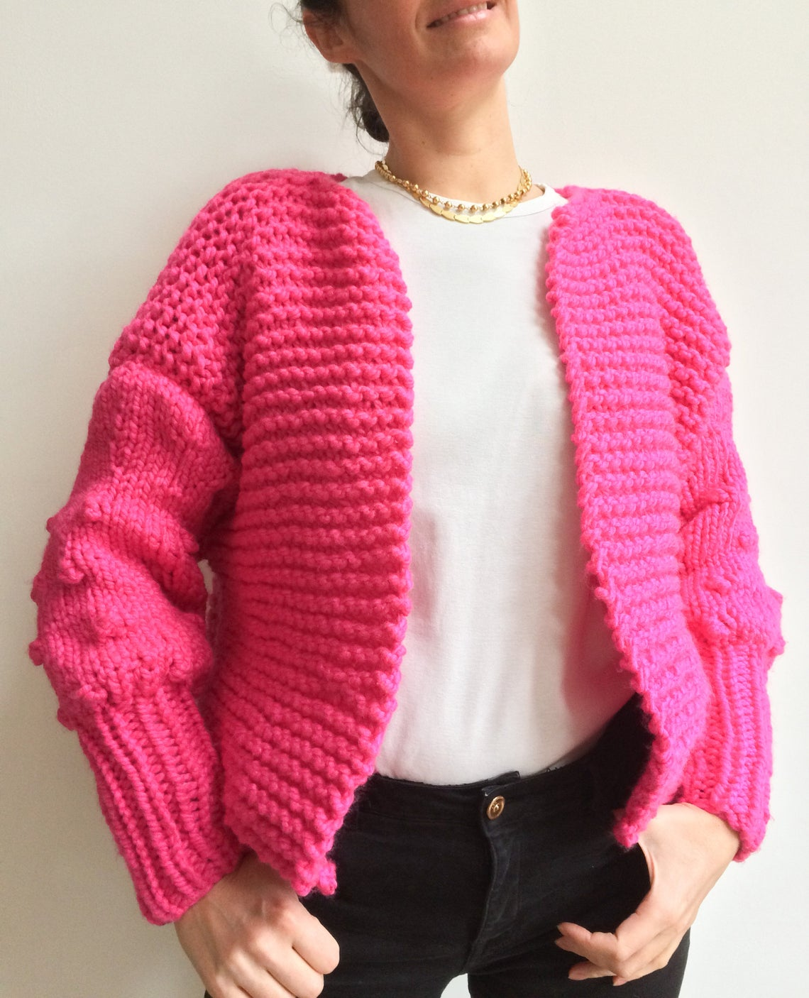 Knit a Fun Chunky Knit Cardigan With Bobble Sleeves ... Yes, Please!