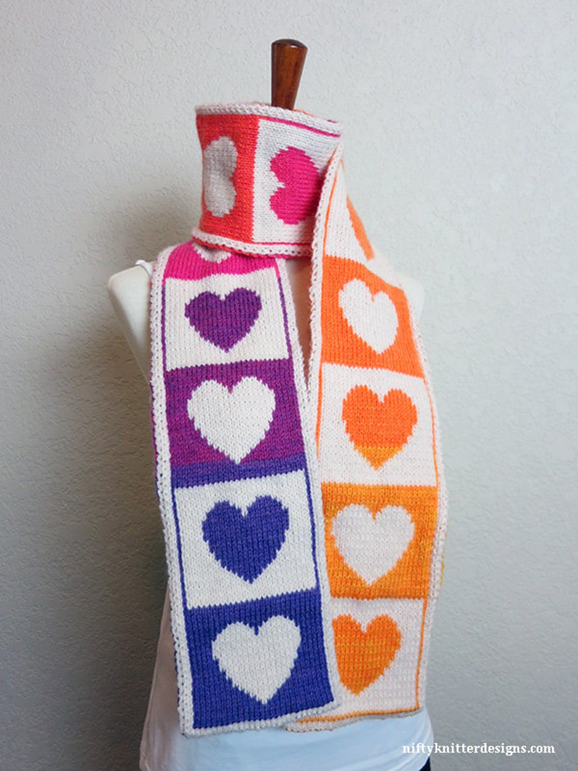 There's Never Been a Better Time To Knit a Colorful Hearts Scarf ... Stitch It With Love