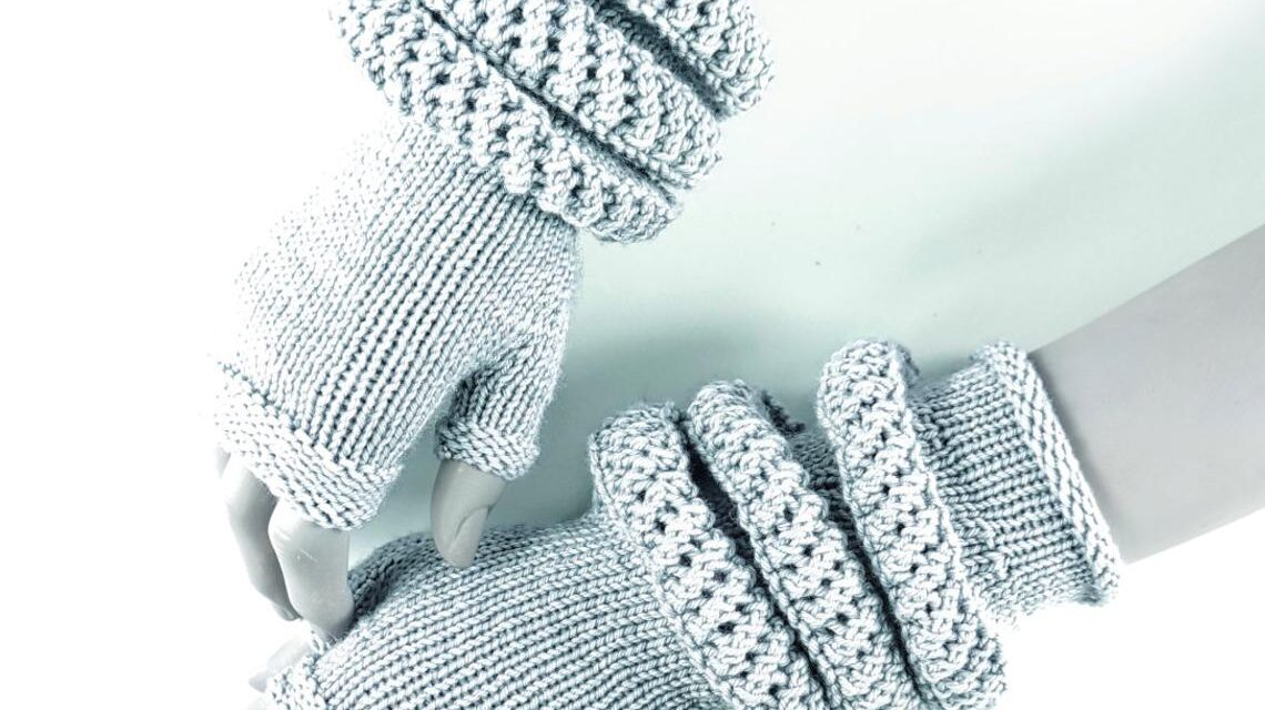 Anne Thompson's Futuristic Fingerless Gloves Transform Into Arm Warmers … Knit Your Own!