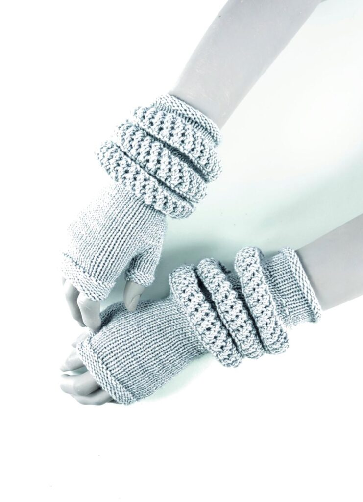Anne Thompson's Futuristic Fingerless Gloves Transform Into Arm Warmers ... Knit Your Own!
