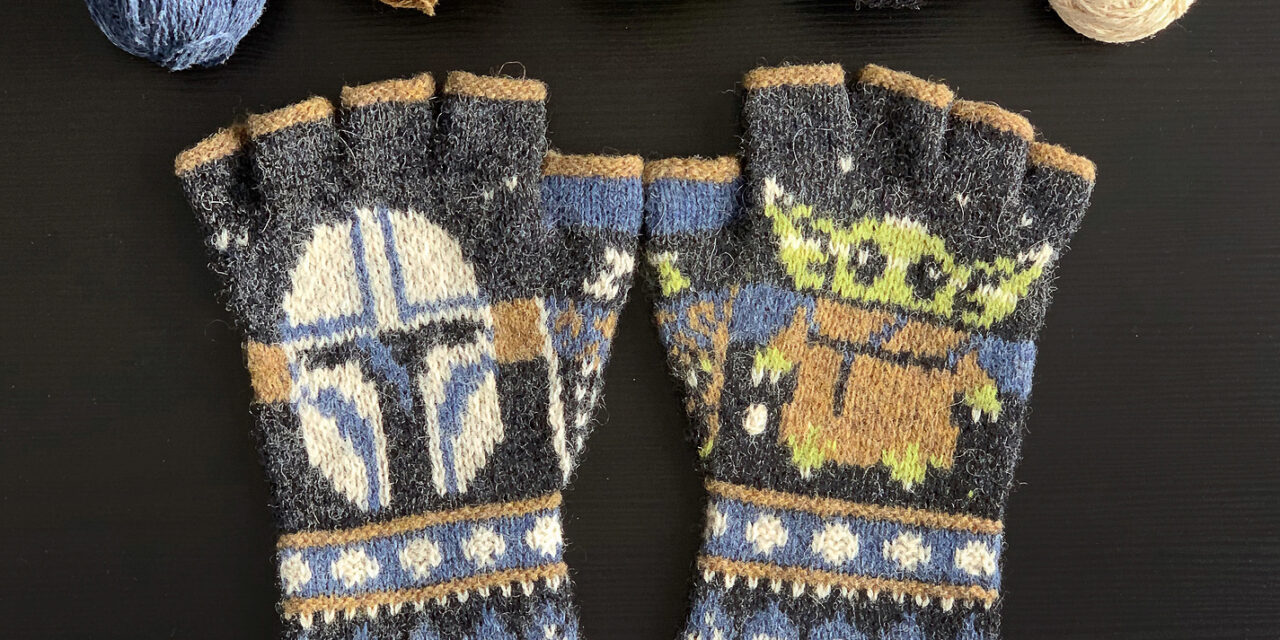 The Absolute Best Star Wars-Inspired Fingerless Gloves Pattern Ever … I Spy Grogu and a Mandalorian Too!