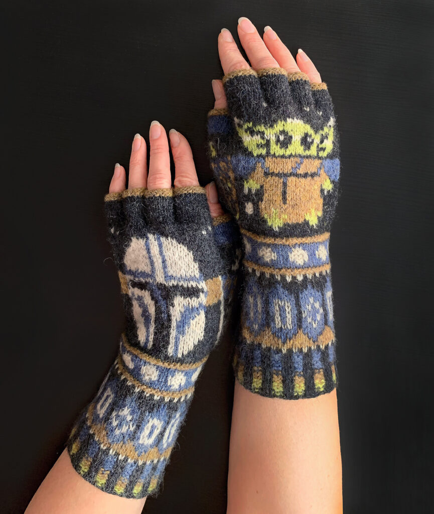 The Absolute Best Star Wars-Inspired Fingerless Gloves Pattern Ever ... I Spy Grogu and a Mandalorian Too!