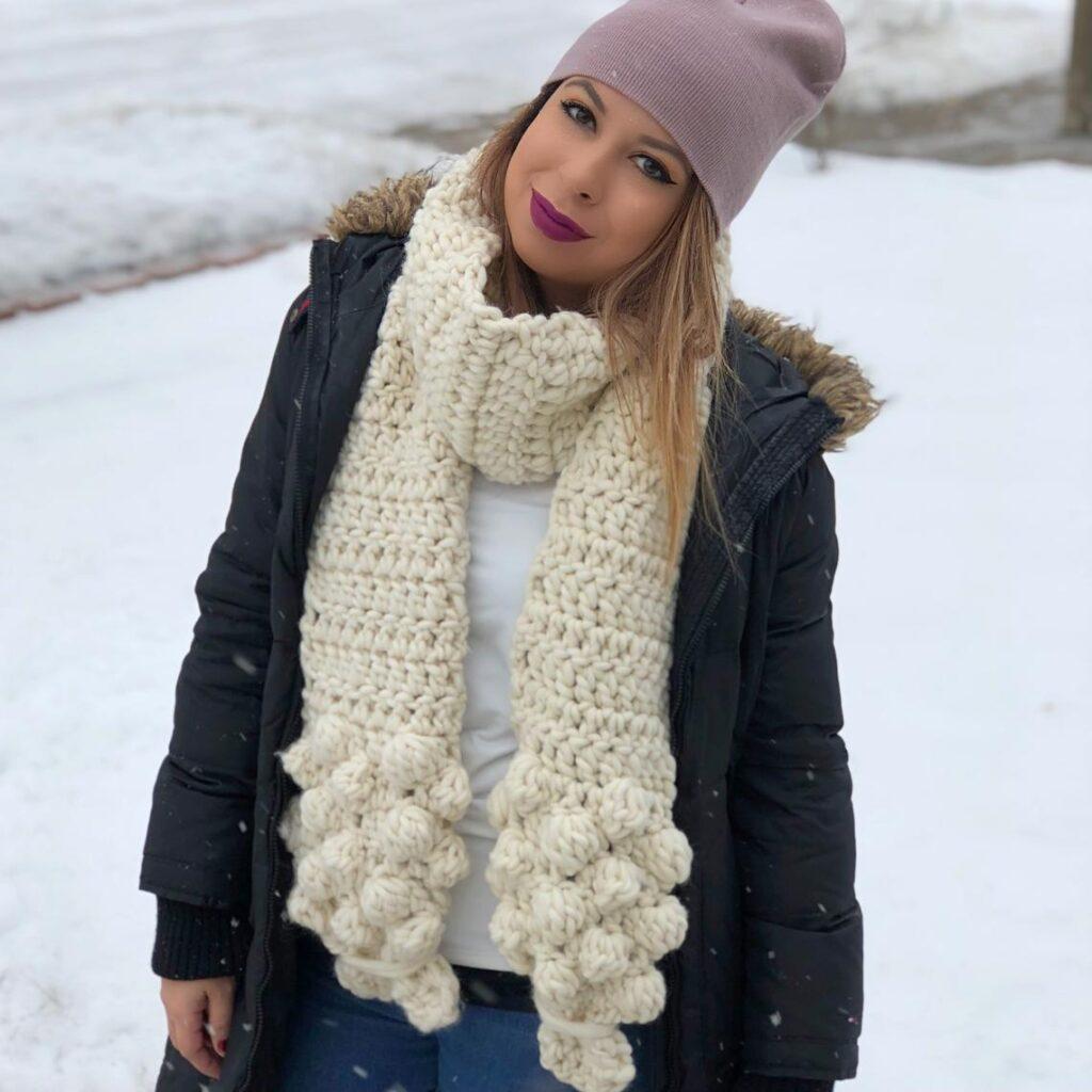 Crochet a Cloud Nine Scarf, Pattern Designed By Seniya Studio ... I'm Loving The 3D Bobble Clouds!