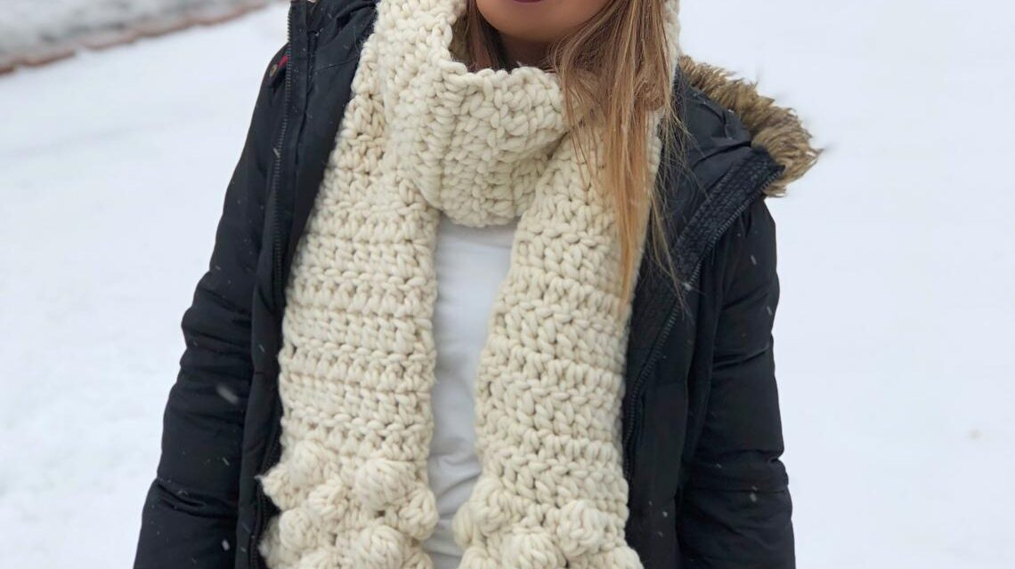 Crochet a Cloud Nine Scarf, Pattern Designed By Seniya Studio … I'm Loving The 3D Bobble Clouds!