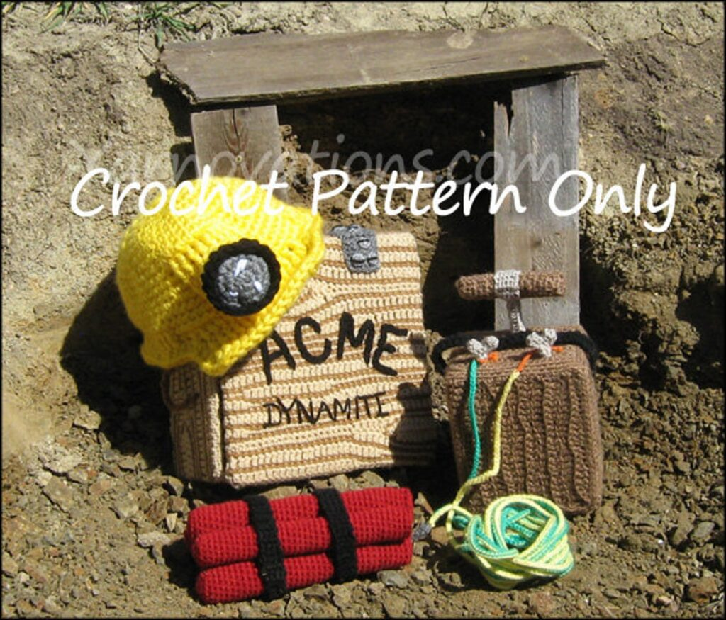Crochet a Miner Hard Hat & Mining Set ... This Fun Cosplay Includes Dynamite!