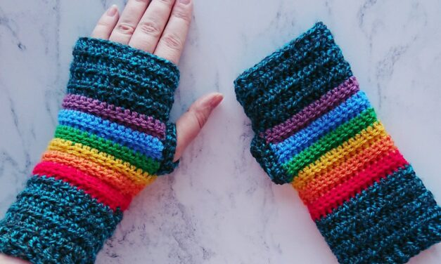 Crochet a Bright and Beautiful Pair of Rainbow Fingerless Gloves