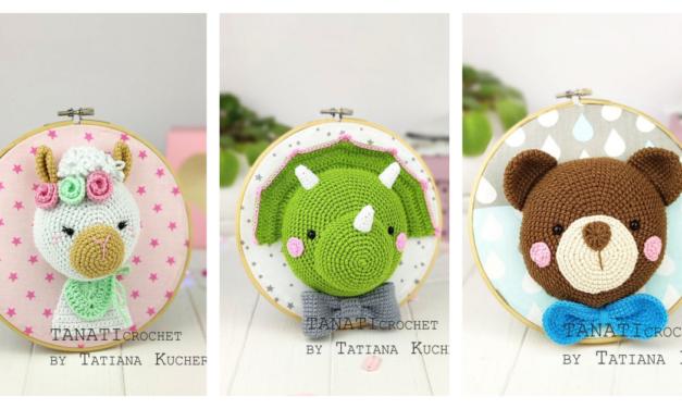 Three Adorable Amigurumi Trophy Heads … No Animals Harmed, This Is Crochet Fauxidermy!
