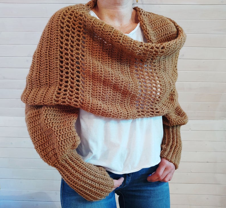 The Best Sciarpone Sweater Shrug Scarf With Sleeves Patterns For Knitters & Crocheters