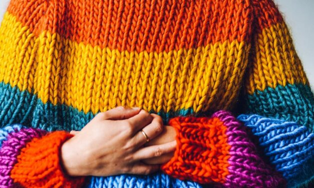 Knit a Big, Beautiful, Bulky, Rainbow Roll Neck Sweater … Get Just The Pattern OR Get The Whole Kit!