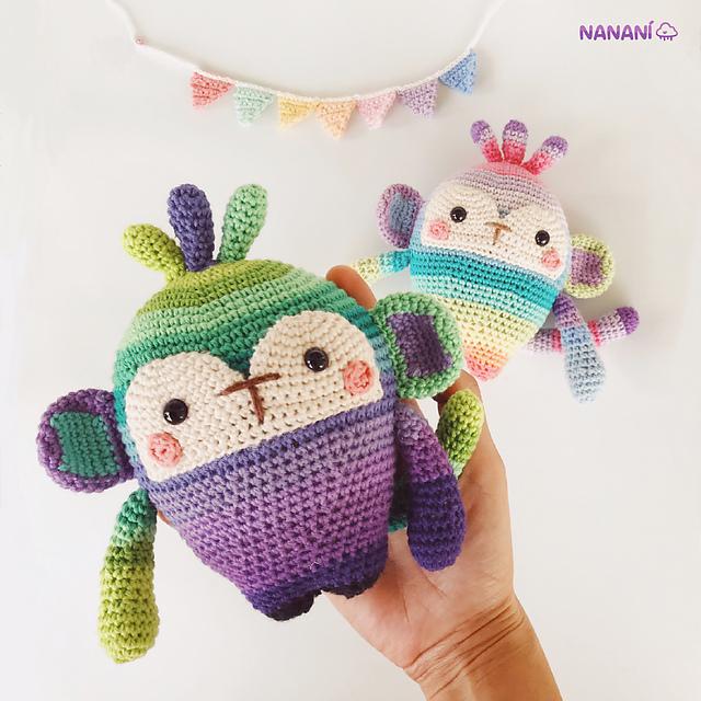 Crochet a Cute Rainbow Monkey Designed By Alejandra Hurtado of Nanani Toys
