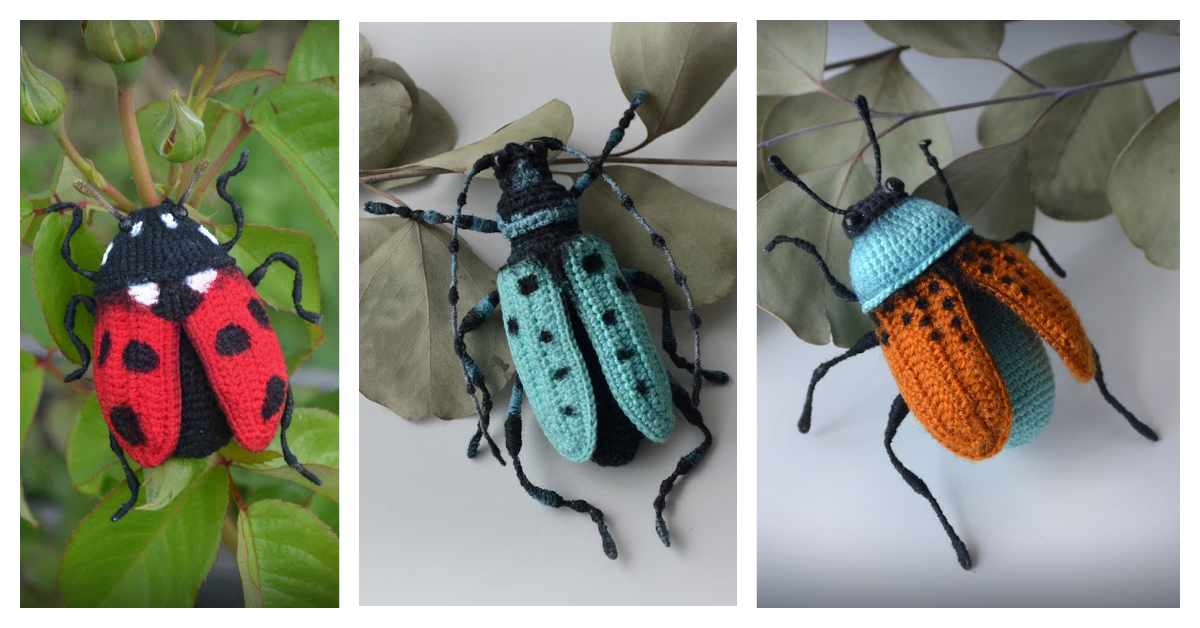 Three Fancy-Ass Insect Patterns For Crocheters … I Spy a Ladybug and Two Beetles!