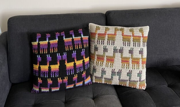 Crochet a Mosaic Llama Kisses Cushion Designed By Melanie Payne