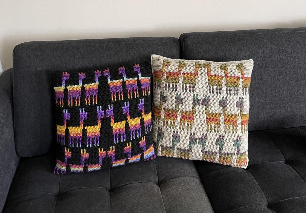 Crochet a Mosaic Llama Kisses Cushion Designed By Melanie Payne