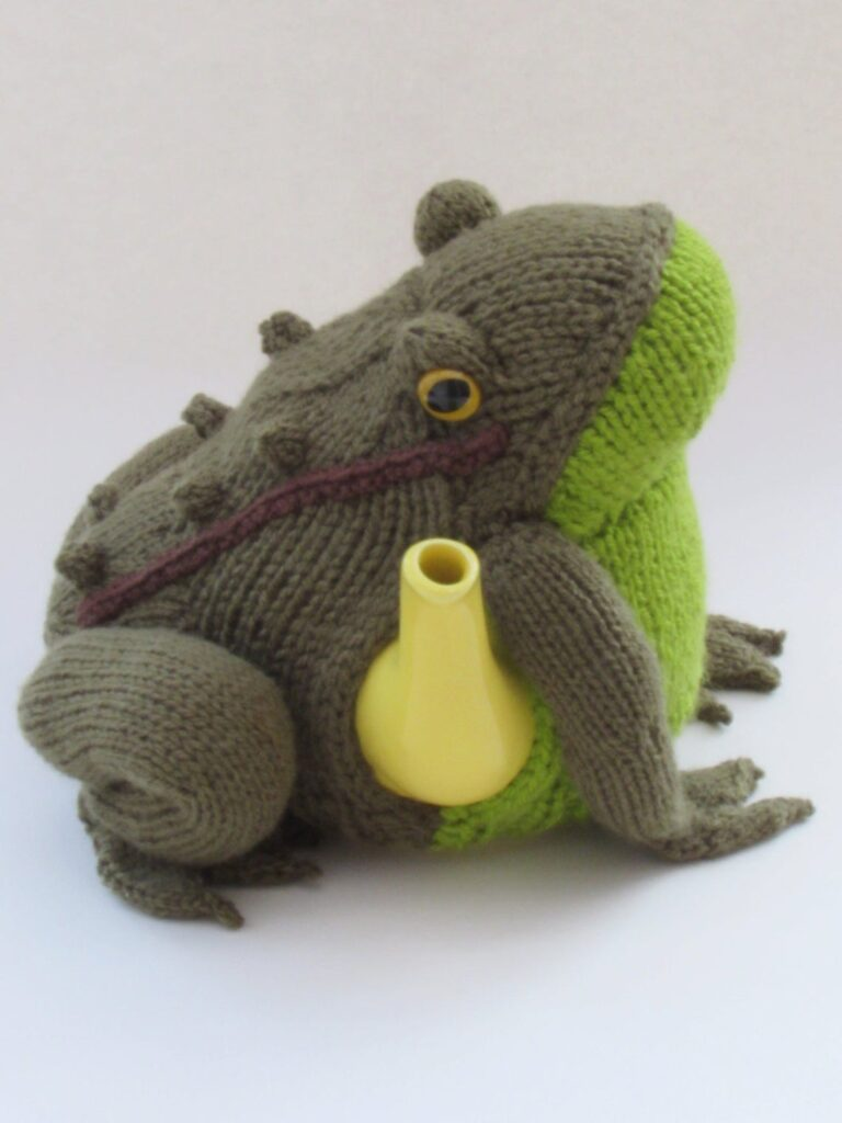 Knit a Delightful Frog Tea Cosy Designed by Susan Cowper of Tea Cosy Folk, So Unique!