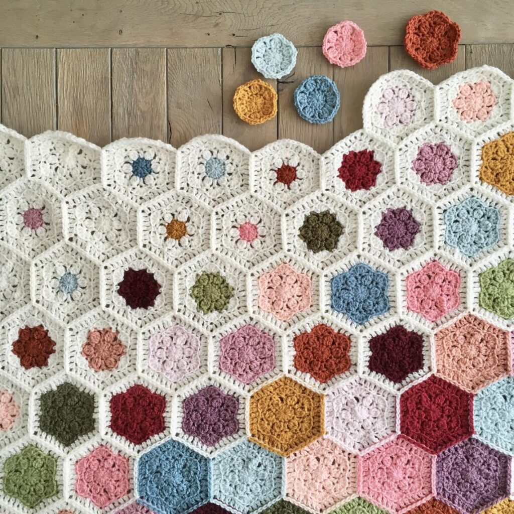 Crochet a Gorgeous Hexagon Flower Afghan For Spring ... This Color Fade Is So Fresh and Unique!