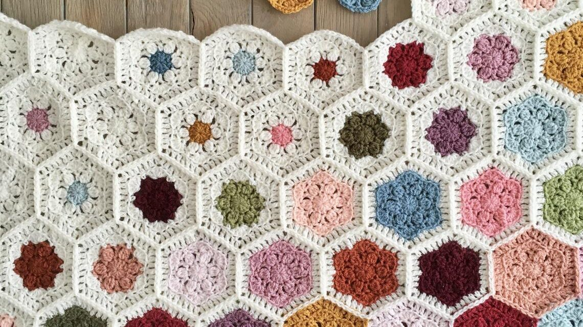 Crochet a Gorgeous Hexagon Flower Afghan For Spring … This Color Fade Is So Fresh and Unique!