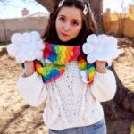 Crochet a Clever Rainbow and Clouds Scarf … The Clouds Are Handwarmer Pockets!