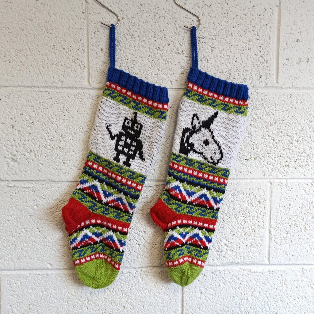 Christmas In July ... Knit a Pair of Fun Fair Isle Stockings Featuring an Unusual Pairing, a Robot and a Unicorn!