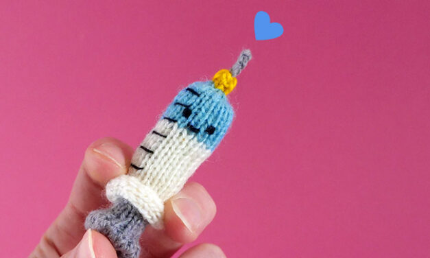 Knit a 'Jabby the Friendly Syringe' With a FREE Pattern From Anna Hrachovec of Mochimochi Land
