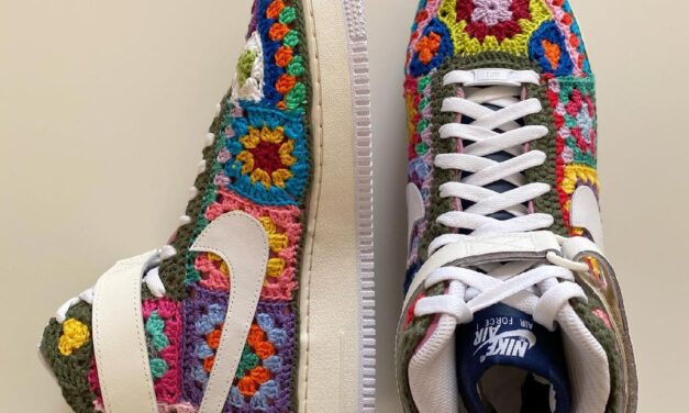 Who Else NEEDS a Pair of These Custom Nike Air Force 1 High Sneakers … They Feature Crochet Granny Squares!