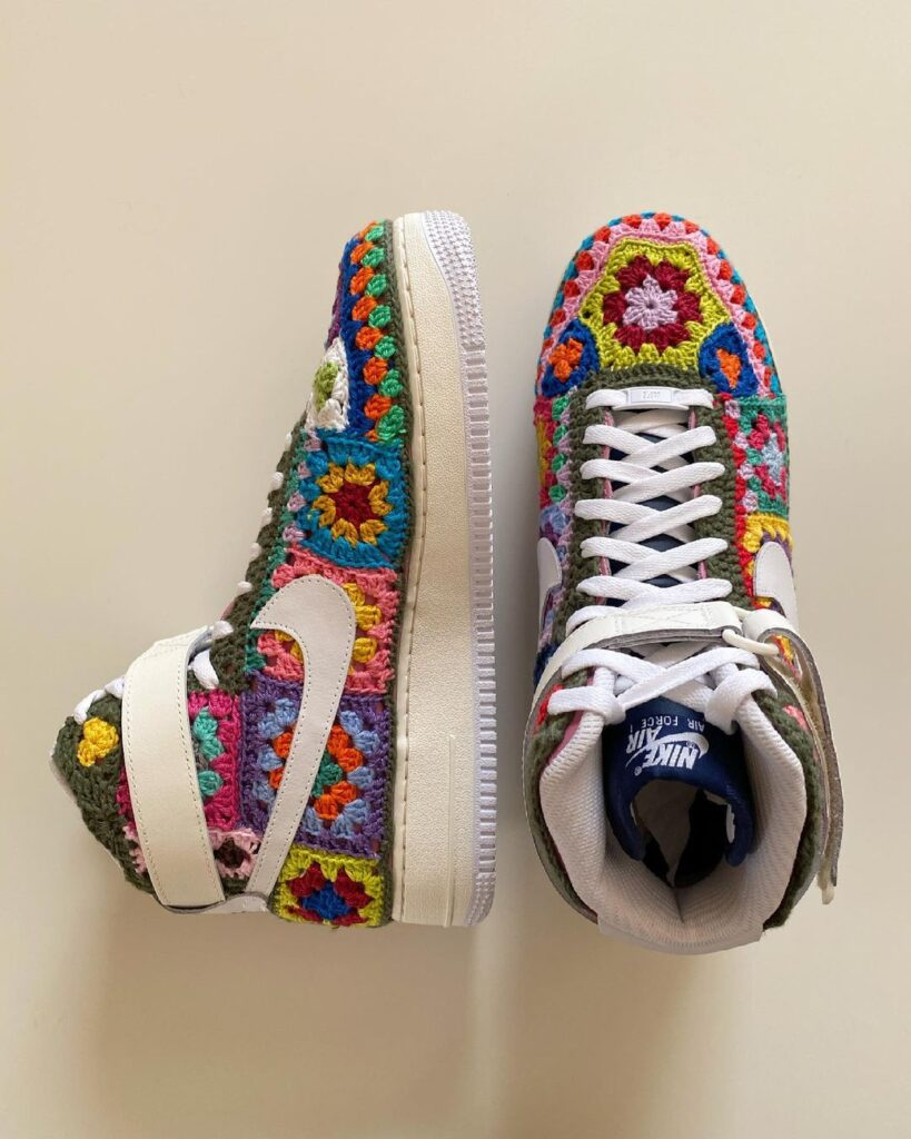 Who Else NEEDS a Pair of These Custom Nike Air Force 1 High Sneakers ... They Feature Crochet Granny Squares!