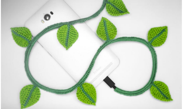 A Spring Fresh Take On The Charging Cord Cozy … It's Beautiful Ivy and The Pattern Is Free!