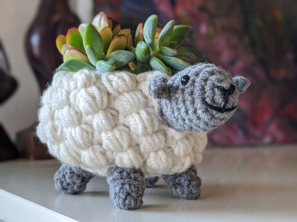 Crochet a Super Snazzy Sheep Planter ... So Cute And Just Right For That Fun Maker Style Decor!
