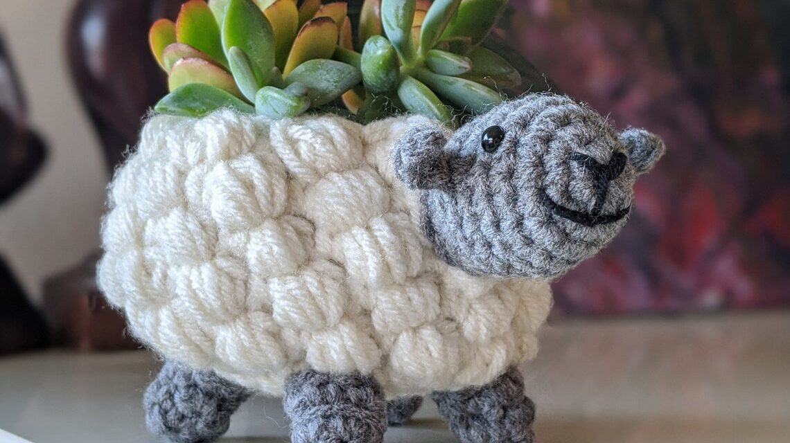 Crochet a Super Snazzy Sheep Planter … So Cute And Just Right For That Fun Maker Style Decor!