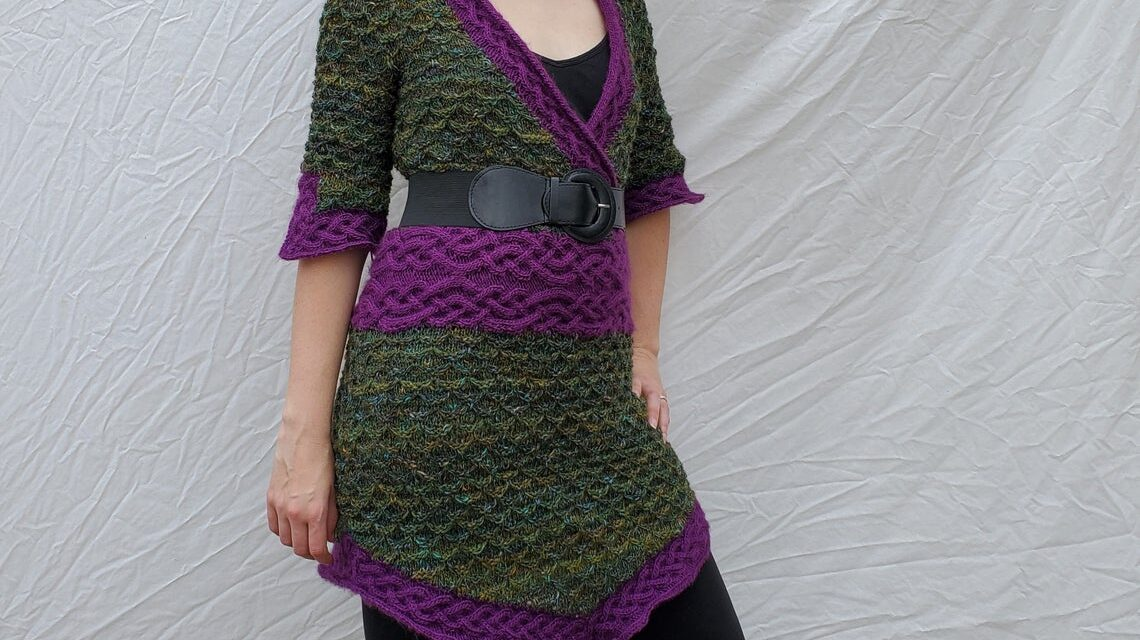 Knit a Gorgeous Wild Girl of the Wood Tunic Dress … The Cable-Knit Waistband Looks So Good!