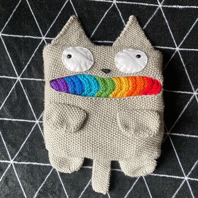 Hey Knitters, Now You Can Make a Rainbow Cat Barf Scarf Too! Hooray, Everyday Is Rainbow Barf Caturday!