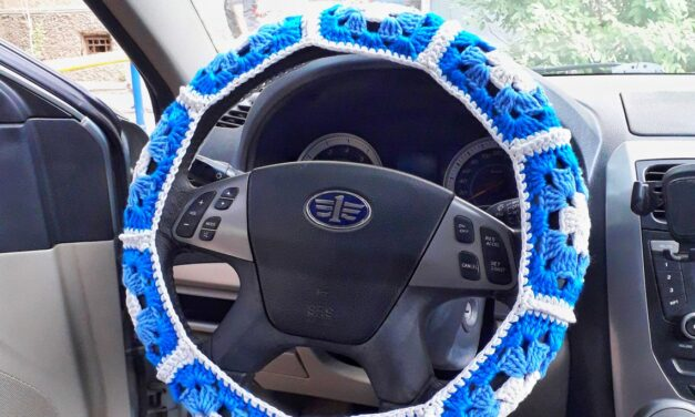 Yarn Bomb Your Car With This Crochet Steering Wheel Cover … Granny-Square Inspired Pattern Alert!