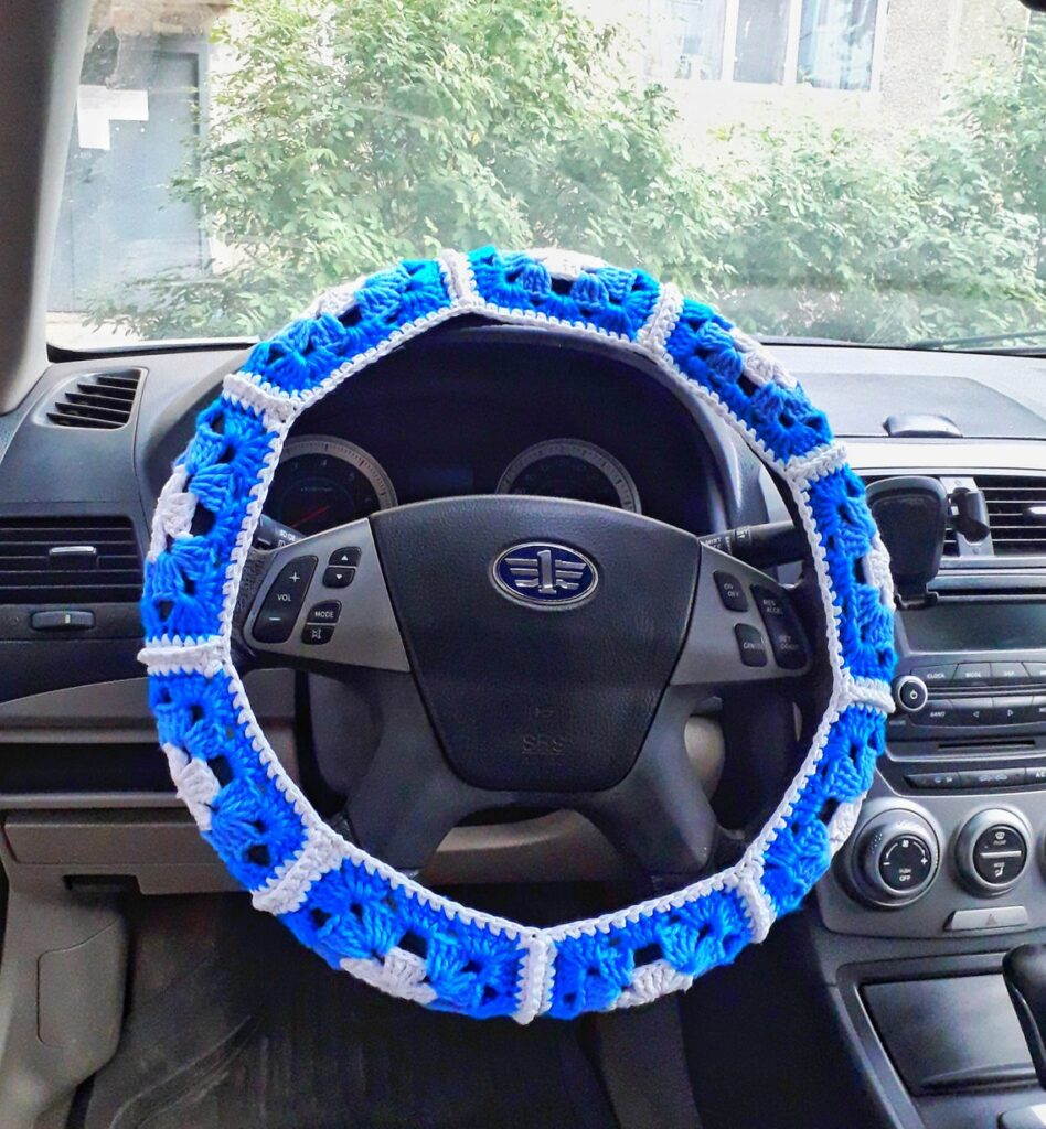 Yarn Bomb Your Car With This Crochet Steering Wheel Cover ... Granny-Square Inspired Pattern Alert!