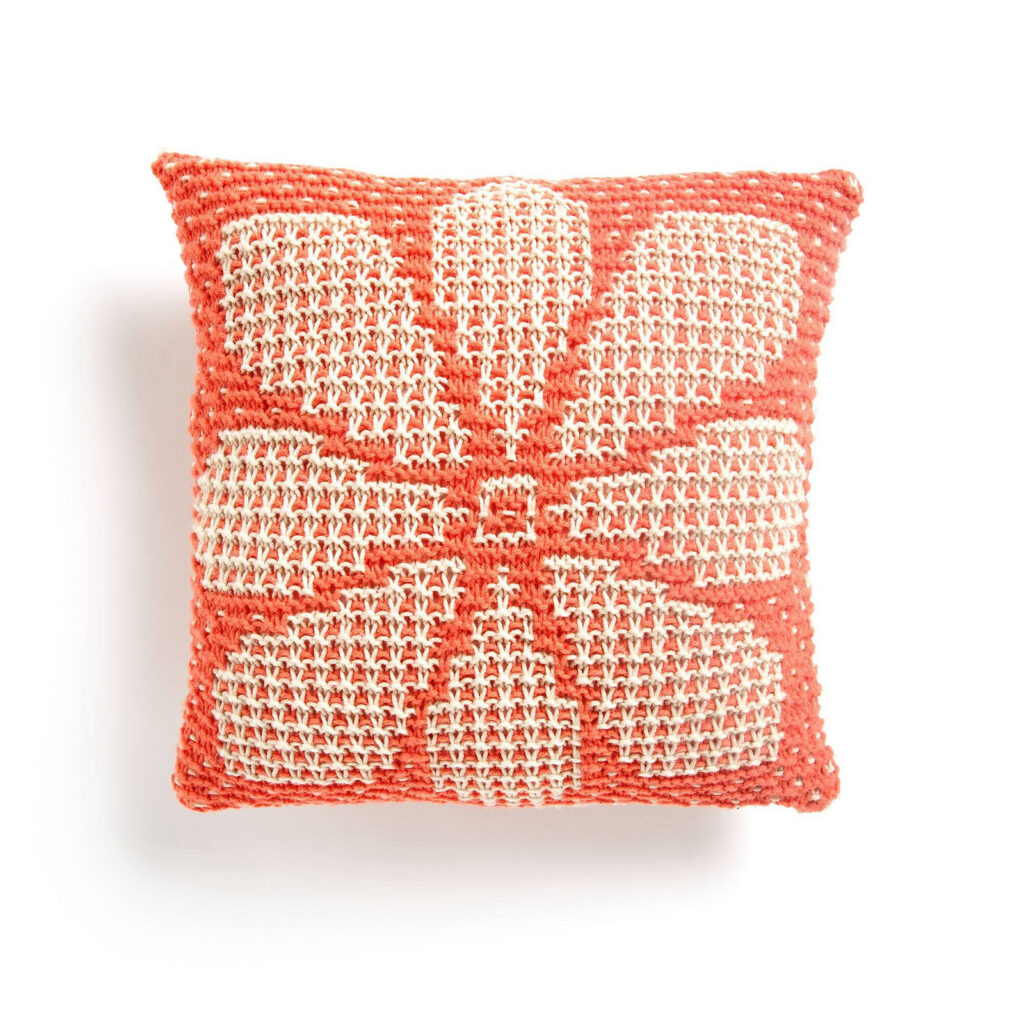 Beautiful and the Patterns Are FREE ... Crochet An Impressive Hexagon Flower Patch Throw Or a Knit a Mosaic Floral Pillow