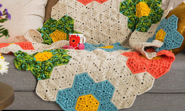Beautiful and the Patterns Are FREE … Crochet An Impressive Hexagon Flower Patch Throw Or a Knit a Mosaic Floral Pillow