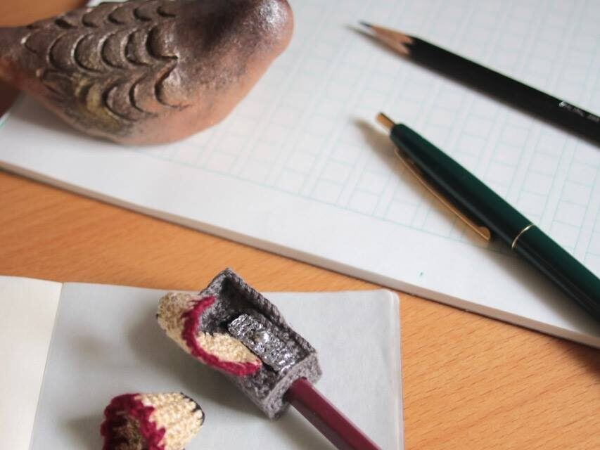 Unusual Crochet: Check Out 203gow's Crochet Pencil Sharpener With Shavings Too!