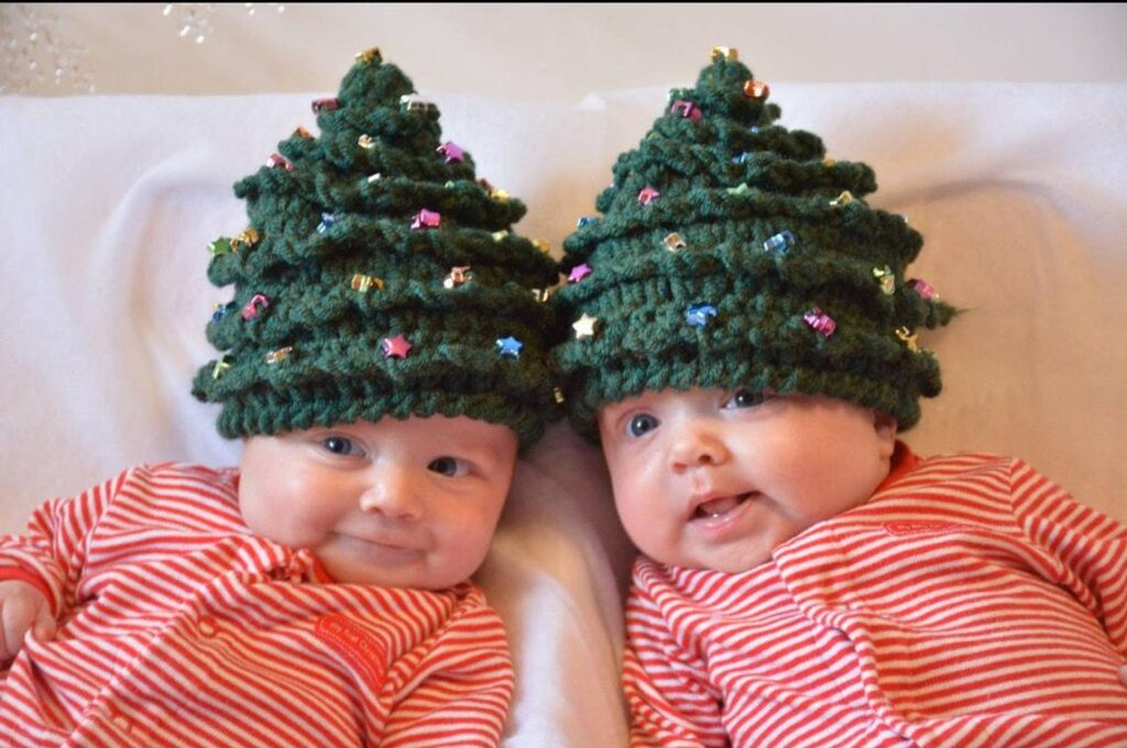 Christmas In July ... Crochet a Beaded Christmas Tree Hat, Pattern Comes In 5 Sizes Newborn to Teen/Adult