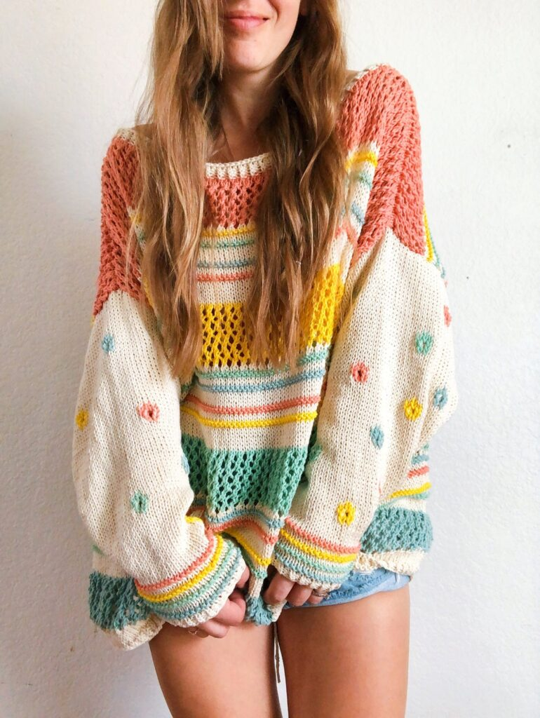 Knit A Summer Daisy Cotton Pullover Sweater Designed By Happy Love Co