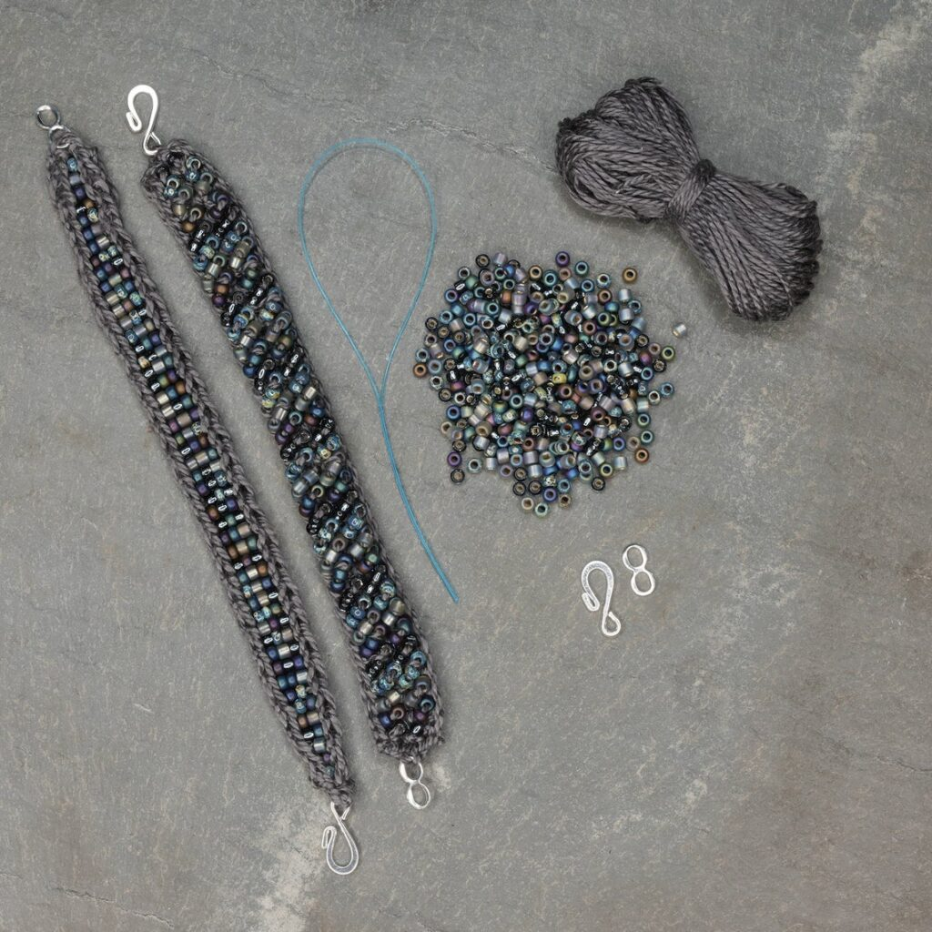 Christmas In July ... Knit or Crochet Sophisticated Beaded Bracelets With A Mingle Cuff Kit From Laura Nelkin