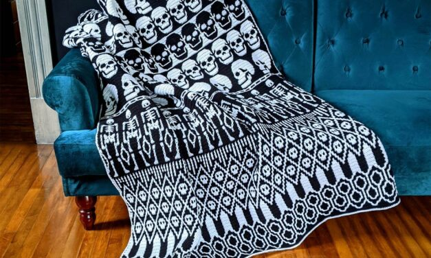 Crochet A Spectacular 'All Skulls Mosaic Blanket,' Pattern Designed By Sixel