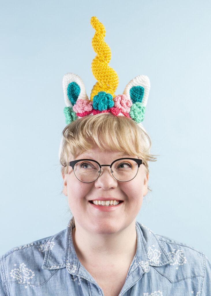 Crochet a Dazzler the Unicorn Headband Designed by Brenda K. B. Anderson - FREE Pattern!