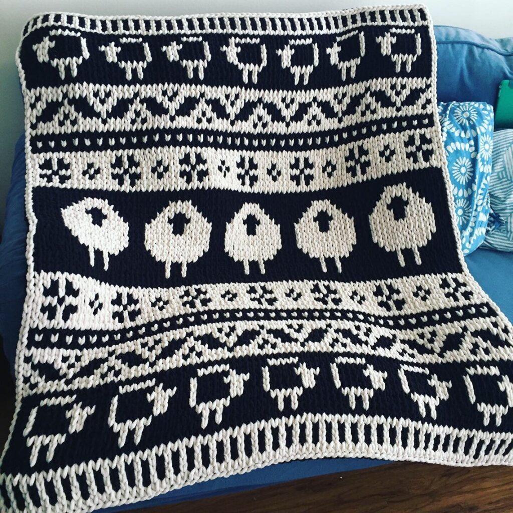 Knit A Black Sheep White Sheep Scandinavian Blanket