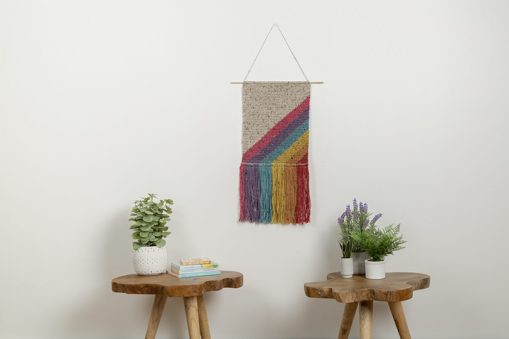 Crochet A Rainbow Showers Wall Hanging, Free Pattern Designed By Helen Anderson