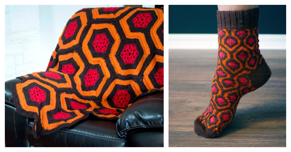 Knit A Pair Of Socks Inspired By The Shining … There's A Crochet Afghan Pattern Too!