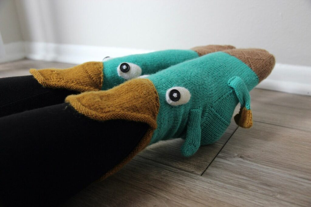 I Fell In Love With The Fish Socks, Then Here Be Dragons, Now My New Favorite Novelty Sock Pattern Features A Popular Platypus