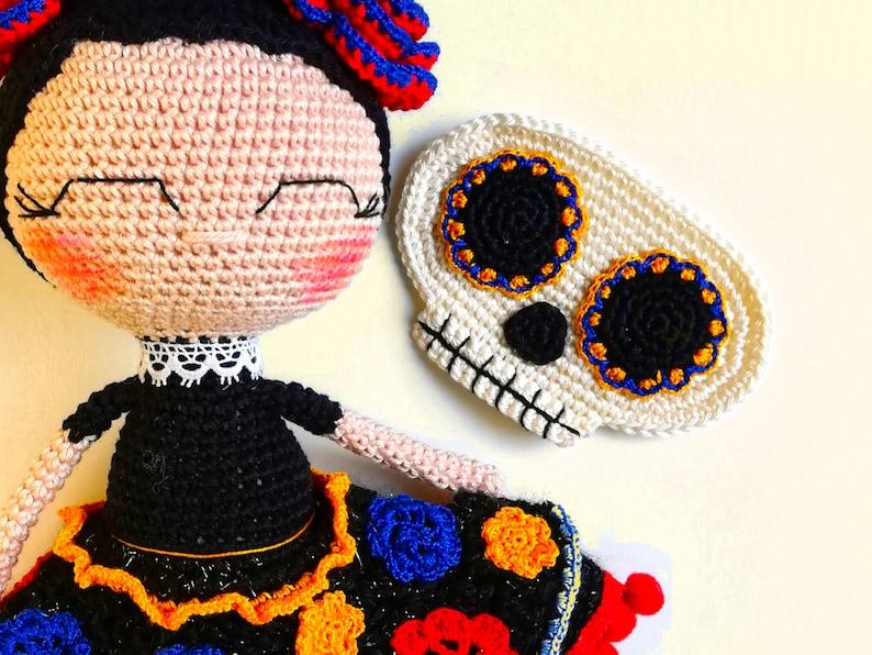 Sugar Skull Doll Amigurumi With Removable Mask ... So Colorful & Fun!