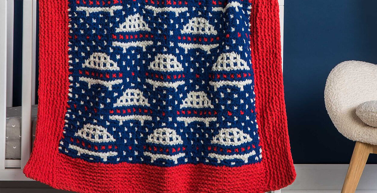 Free Pattern! Knit a Mosaic Simply Saucers Baby Blanket, Pattern Courtesy Of Yarnspirations Design Studio