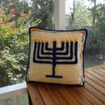 Crochet a Hanukkah Menorah Pillow Designed By Ilene Stacey King